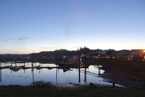 marina, dusk, low tide, looking west