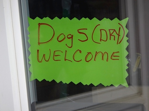 sign in the shop window (Allan's photo)
