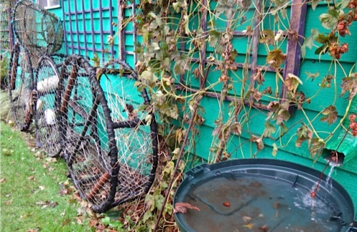 crab pots by the west garage wall