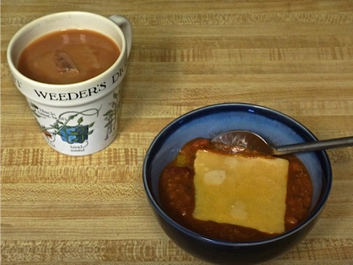 fortifying cuppa Builder's Tea and chili, provided by Allan.