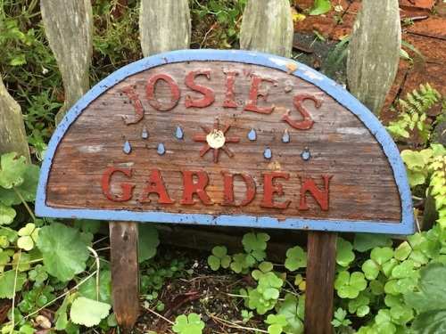 The Josie's Garden sign is still there.