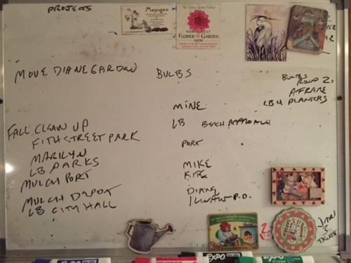 the work board waning, and waxing as I remember more to do (like plant my own bulbs)