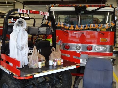 The Fire Department held a food drive for the local food bank.