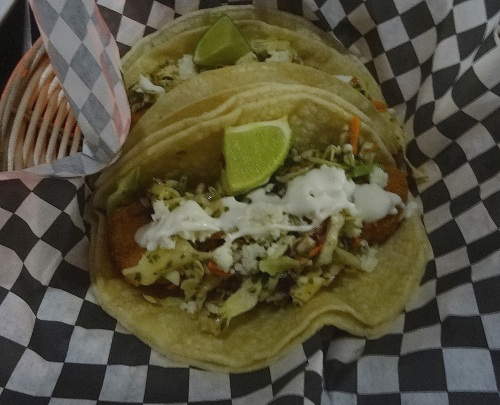 2 fish tacos, filling and economical