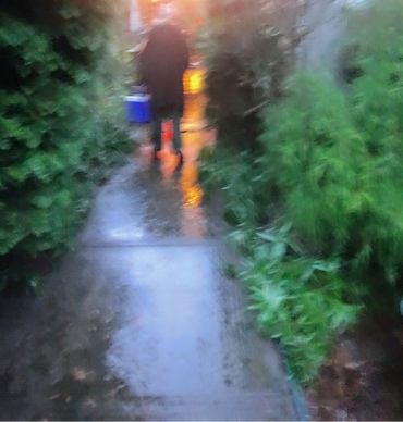 approaching the house in bucketing down rain (Allan's photo)