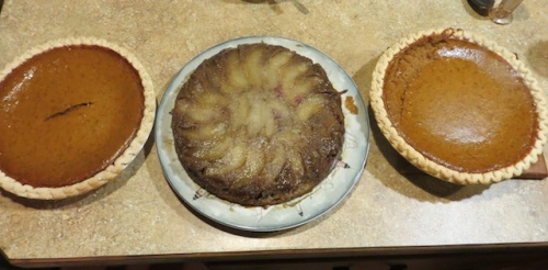 pumpkin pies by Allan, pear and cranberry cake by Melissa