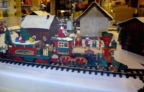 the Christmas train goes round and round.