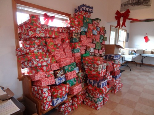 Shoeboxes ready to be filled.