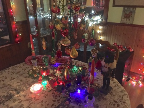 a table top tree with all fruit and veg ornaments