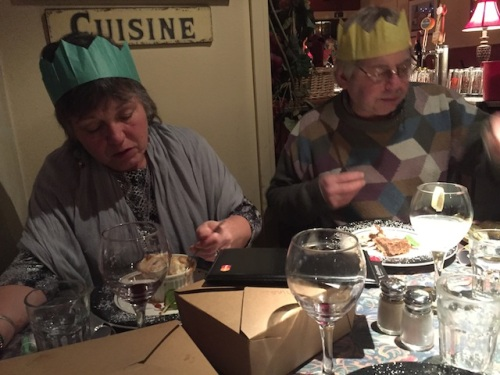 J9 and Allan tuck in to dessert after we opened our Christmas crackers and donned our crowns.