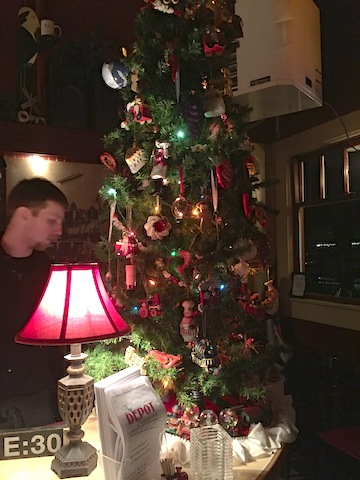 Depot tree with train and culinary ornaments